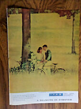 1957 De Beers Diamond Ad Golden Time when Love is New A Girl & Boy share Dreams