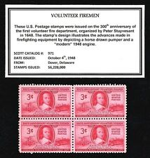 1948 - VOLUNTEER FIREMEN  - Mint, Never Hinged, Block of Four Vintage Postage St