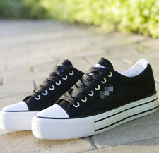 Womens Canvas Platform Breathable Board Casual Lace Up Flatform College Shoes