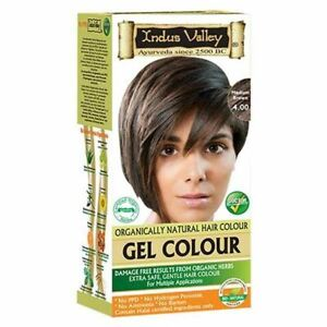 Indus Valley Organically Natural Gel Hair Color Medium Brown 4.0 For Hairs