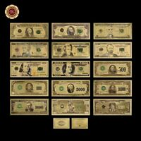 WR 24K Gold Banknotes Set US America Dollar Bill Paper Money Lot Collection +COA