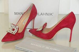 $1135 NEW Manolo Blahnik BORLAK Red Raspberry JEWELED Crystals BB Shoes 40.5