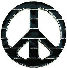 Black PEACE sign Lines Belt Buckle