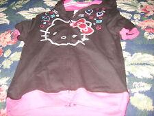 Black zip front hoodie Nwot New Girls Hello Kitty short sleeve L 10 12 glitter