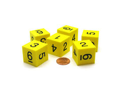 Pack of 6 25mm D6 Square Foam Dice Numbered 1 to 6 - Yellow with Black Numbers