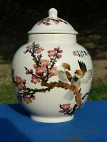 VTG Chinese Pottery PORCELAIN JAR Urn VASE Birds POETRY Cherry BLOSSOMS Signed
