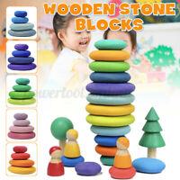 Kids Wooden Stone Rainbow Flat Stacking Game Balancing Building Blocks  A