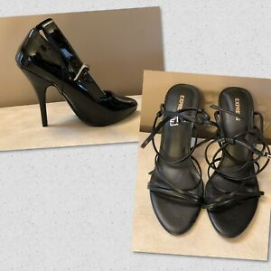 "New - Pleaser Seduce-431 Black 4"" Heel Ankle Strap & Express Strappy Stilettos"