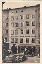 "AK, Salzburg, Mozarts Geburtshaus, Auto, Oldtimer, Steyr XII + 50 ""Baby"" Fahrrad"