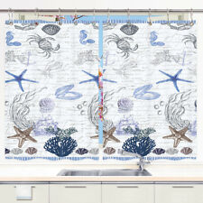 Starfish Shell Nautical Kitchen Curtains Window Treatments 2 Panels, 55X39''