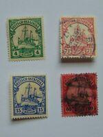 4 Marken Deutsche Kolonien - Deutsch-Ostafrika von 1906 mit Falzresten