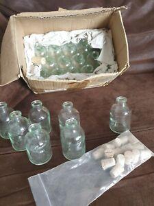 21x Small Glass Storage Bottle Jars Vials Cork Stopper