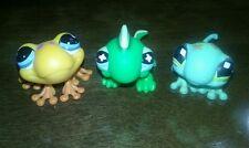Lot of 3 LPS -#874 orange Frogs #492 Flower Gecko #651 Green Iguana