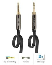 FosPower Premium 3.5mm Male to Male Gold Plated Aux Stereo Audio Flat Cable Cord