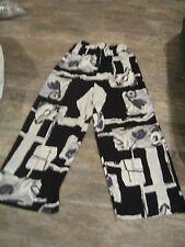 Gray Black White Print M Palazzo Beach Lounge Wide Leg Rayon Pants BIA