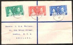 ST HELENA, KVI 1937 CORONATION SET, REGISTERED COVER, NOT FIRST DAY