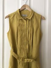 Chamomile Yellow Hobbs Michelle Linen Shirt Dress. Pleated Belted 14