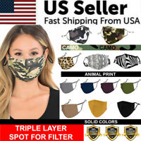 Face Mask Triple Layer Reusable Washable Cover Camo Cloth Zebra Snake Cheetah