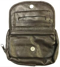 Brown Full Leather Tobacco Pouch w/ Rolling Paper Slot & Zipper, #3313