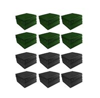 Acoustic Foam 96 pack Forest Green Charcoal Gray Pyramid Studio 12x12x1 tiles