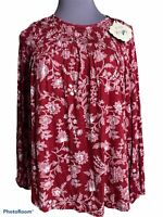 Knox Rose Small Womens Blouse Peasant Boho Floral Keyhole Top Retail $24.99 D1