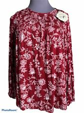 Knox Rose Small Womens Blouse Peasant Boho Floral Keyhole Top Retail D1