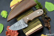 Custom Damascus Steel Skinning Hunting Knife Handmade,G-10 Micarta Handle A355-J