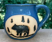 VINTAGE STONEWARE CLAY POTTERY 3-D COFFEE MUGS/CUPS MOUNTAIN BEAR-FOREST TREES