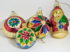 4 Mouth Blown Gold Red Green Glittered Glass Ornaments