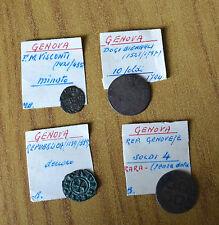 LOTTO 4 MONETE REPUBBLICA GENOVESE GENOVA 4 10 SOLDI 1 DENARO MINUTO 1794