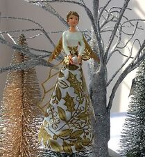 Gisela Graham Gold Holly Angel Christmas Tree Topper Decoration Fairy Glitter