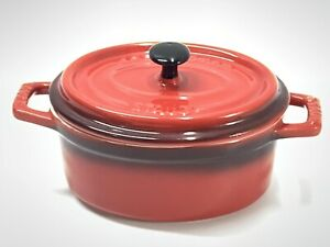 "CLEAN STAUB Ceramic Mini Cocotte Red Cherry Stoneware Dish & Lid 4""x3"""