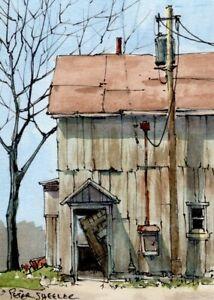 "Barn Door ACEO 2.5""x3.5"" Original Watercolor Peter Sheeler rural farm shadows"