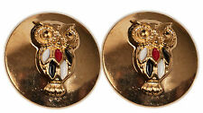New Set of 2 Owl Black & Gold Red White Color Metal Enamel Buttons 1 Inch Size