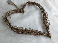 28cm Silver Glitter Twig Heart Wreath Christmas Decoration Door Gisela Graham