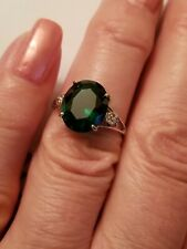 4.00 CT RUSSIAN EMERALD & DIAMOND 10KT SOLID WHITE GOLD RING SIZE 7