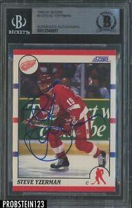 Steve Yzerman Signed 1990-91 Score Hockey #3 AUTO Detroit Red Wings BGS BAS