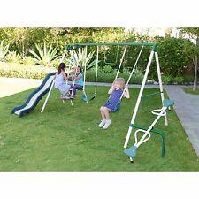 Playground Metal Swing Set Outdoor Play Slide Swingset Kids Backyard Playset NEW