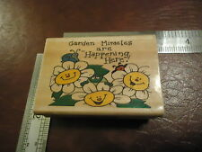 GARDEN MIRACLES ARE HAPPENING HERE!.. RUBBER STAMP QUOTES SAYINGS DAISY FROG BUG