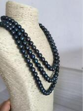 """3 strands 17""""18""""19""""8-9mm natural south sea genuine black green pearl necklace"""