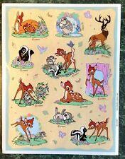Vintage 80s HALLMARK Sticker Sheet BAMBIE Disney Movie THUMPER Deer Skunk Rare