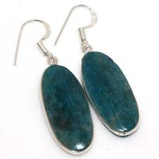 "Plated Earrings 2"" Jewelry Gw Blue Apatite 925 Sterling Silver"