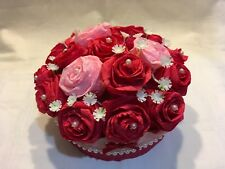 Artificial Flower Wedding Table Centrepiece Decoration Crepe Paper Red And Pink