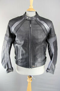 AKITO BLACK & SILVER LEATHER BIKER JACKET + CE SHOULDER & ELBOW ARMOUR SIZE 16