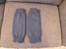 Hand Knitted Aran Leg Warmers-One size-Blue Denim