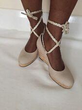 Via vai Plataforma De Cuña De Cuero Con Cordones Paja Tejido Alpargatas shoesbeach Beige 3