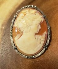 Pin Pendant, 44X34mm, Master Carver Exquisite Cameo! 800 Silver Marcasite Frame,