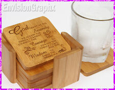 SERENITY PRAYER Engraved Bamboo Set of 6 Square Coasters Great Anytime Gift