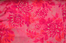Bright, Hot Pinks and White Floral 1 3/4 yds Fabric Polynesian Textile Barkcloth
