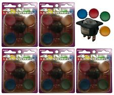 (5) Illuminating Rocker Switch 4-IN-1 Lens Kit 12V 20A - Red Yellow Blue Green